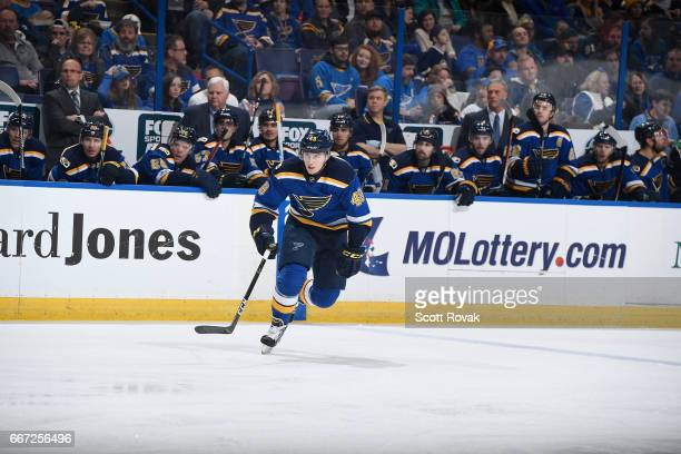 Ivan Barbashev of the St Louis Blues skates against the Winnipeg Jets on January 31 2017 at Scottrade Center in St Louis Missouri