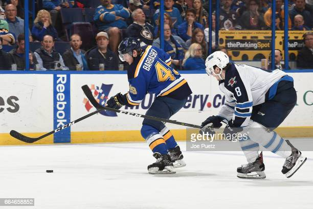 Ivan Barbashev of the St Louis Blues skates with the puck as Jacob Trouba of the Winnipeg Jets defends on April 4 2017 at Scottrade Center in St...