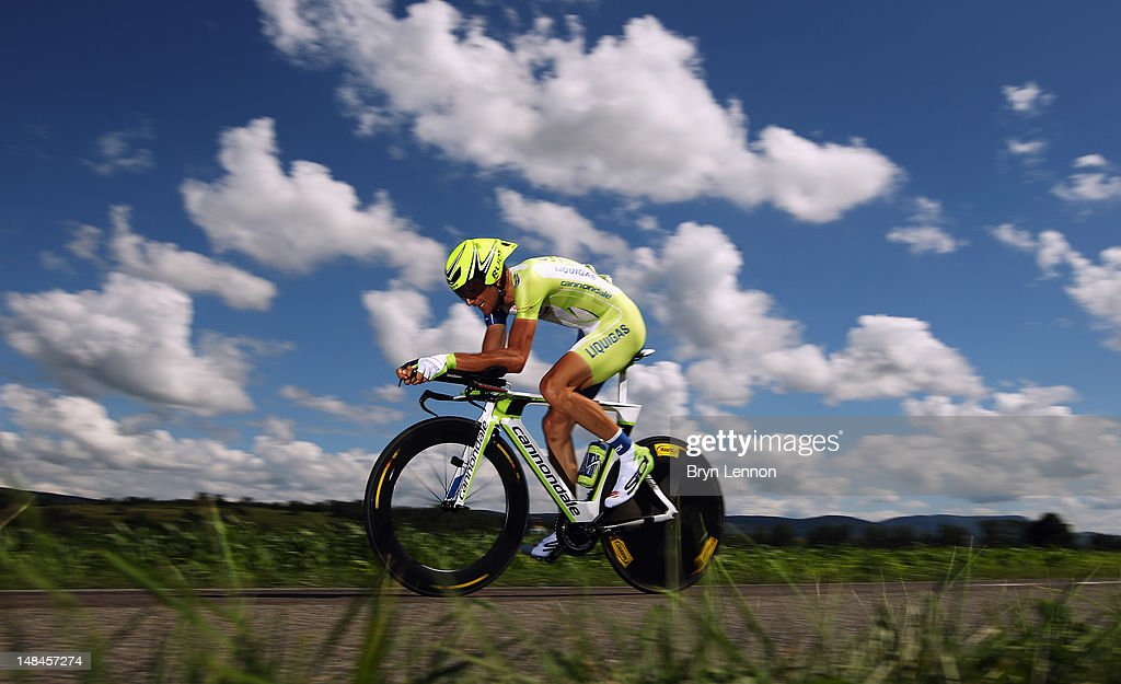 Ivan Basso of Italy and Liquigas-Cannondale in action during stage nine of the 2012 Tour de France, a 41.5km individual time trial, from Arc-et-Senans to Besancon on July 9, 2012 in Besancon, France.