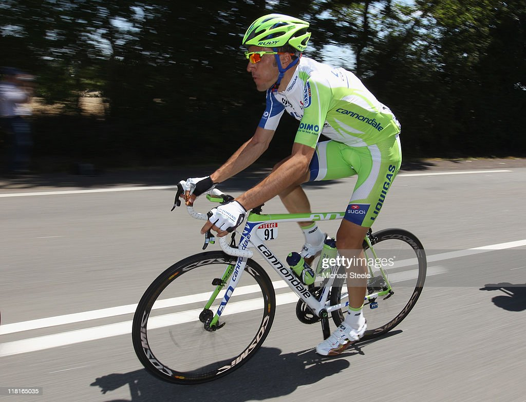 <a gi-track='captionPersonalityLinkClicked' href=/galleries/search?phrase=Ivan+Basso&family=editorial&specificpeople=228363 ng-click='$event.stopPropagation()'>Ivan Basso</a> of Italy and team Liquigas during Stage 3 of the 2011 Tour de France from Olonne sur Mer to Redon on July 4, 2011 in Redon, France.