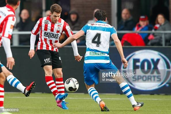 Ivan Calero Ruiz of Sparta Rotterdam Dirk Marcellis of PEC Zwolleduring the Dutch Eredivisie match between Sparta Rotterdam and PEC Zwolle at the...