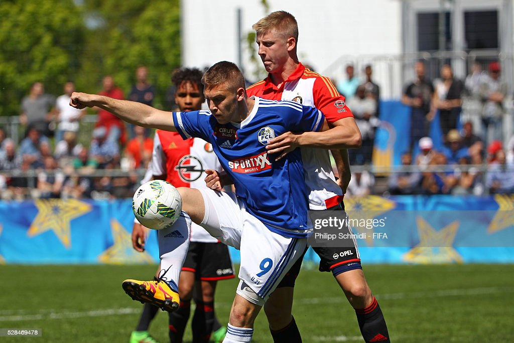 Ivan Calic of FC Luzern (L) competes for the ball with Mats David Knoester of Feyenoord Rotterdam during the FIFA Blue Stars 2016/FIFA Youth Cup on May 5, 2016 in Zurich, Switzerland.