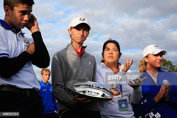 Ivan Cantero Guiterrez and Linnea Strom of Team Europe and Austin Connelly and Bethany Wu of Team USA are presented with the Friendship Match trophy...