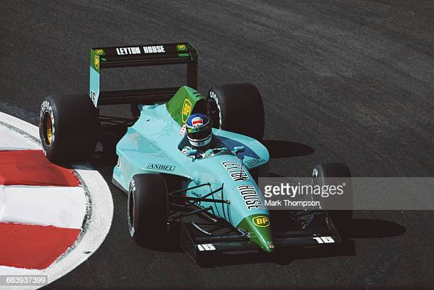 Ivan Capelli of Italy drives the Leyton House Leyton House CG901 Judd V8 during practice for the French Grand Prix on 5 July 1991 at the Circuit de...