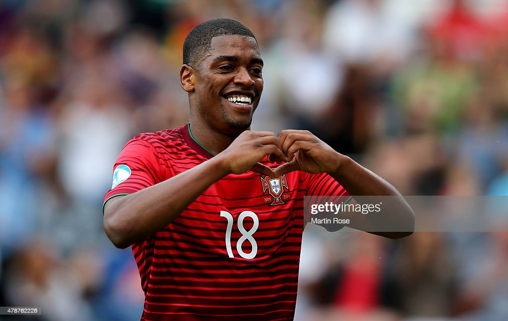 Ivan Cavaleiro of Portugal celebrates after scoring the 3rd goal during the UEFA European Under-21 semi final match Between Portugal and Germany at Ander Stadium on June 27, 2015 in Olomouc, Czech Republic.