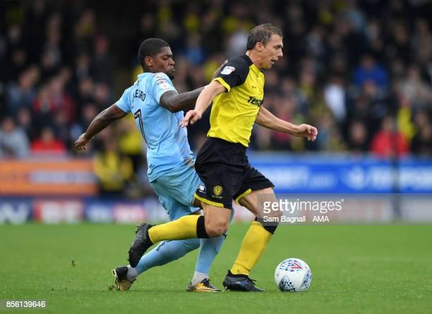 Ivan Cavaleiro of Wolverhampton Wanderers and Stephen Warnock of Burton Albion during the Sky Bet Championship match between Burton Albion and...