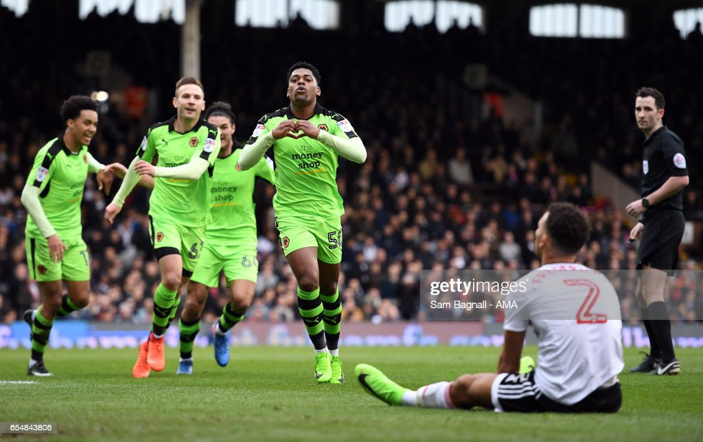 Ivan Cavaleiro of Wolverhampton Wanderers celebrates after scoring a goal to make it 0-1 during the Sky Bet Championship match between Fulham and Wolverhampton Wanderers at Craven Cottage on March 18, 2017 in London, England.