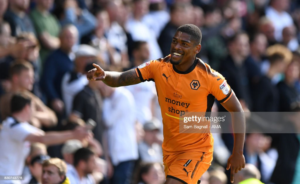 Ivan Cavaleiro of Wolverhampton Wanderers celebrates after scoring a goal to make it 0-2 with Diogo Jota of Wolverhampton Wanderers during the Sky Bet Championship match between Derby County and Wolverhampton at iPro Stadium on August 12, 2017 in Derby, England.