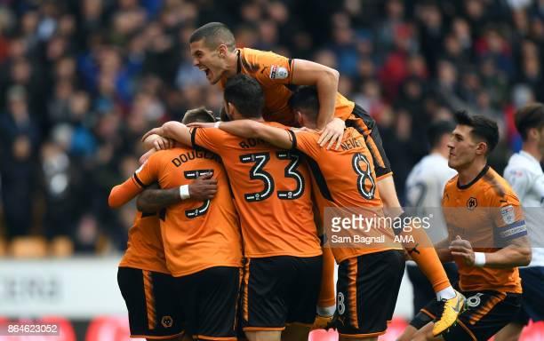 Ivan Cavaleiro of Wolverhampton Wanderers celebrates after scoring a goal to make it 10 during the Sky Bet Championship match between Wolverhampton...