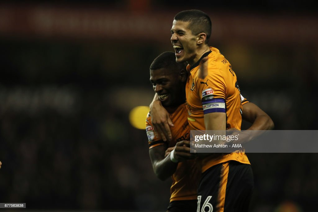 Ivan Cavaleiro of Wolverhampton Wanderers celebrates after scoring a goal to make it 2-0 with Conor Coady during the Sky Bet Championship match between Wolverhampton and Leeds United at Molineux on November 22, 2017 in Wolverhampton, England.