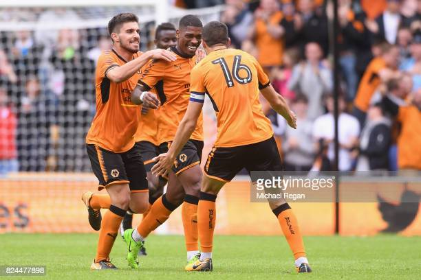 Ivan Cavalerio of Wolves celebrates scoring the first goal during the preseason friendly match between Wolverhampton Wanderers and Leicester City at...