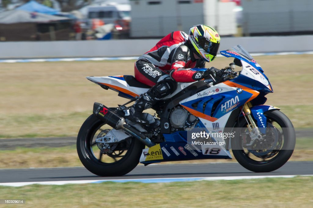 Ivan Clementi of Italy and HTM Racing heads down a straight during qualifying practice ahead of the World Superbikes at Phillip Island Grand Prix Circuit on February 22, 2013 in Phillip Island, Australia.