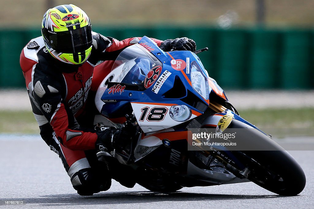 Ivan Clementi (#18) of Italy on the BMW S1000 RR for HTM Racing competes during the World Superbikes Qualifying Session at TT Circuit Assen on April 27, 2013 in Assen, Netherlands.