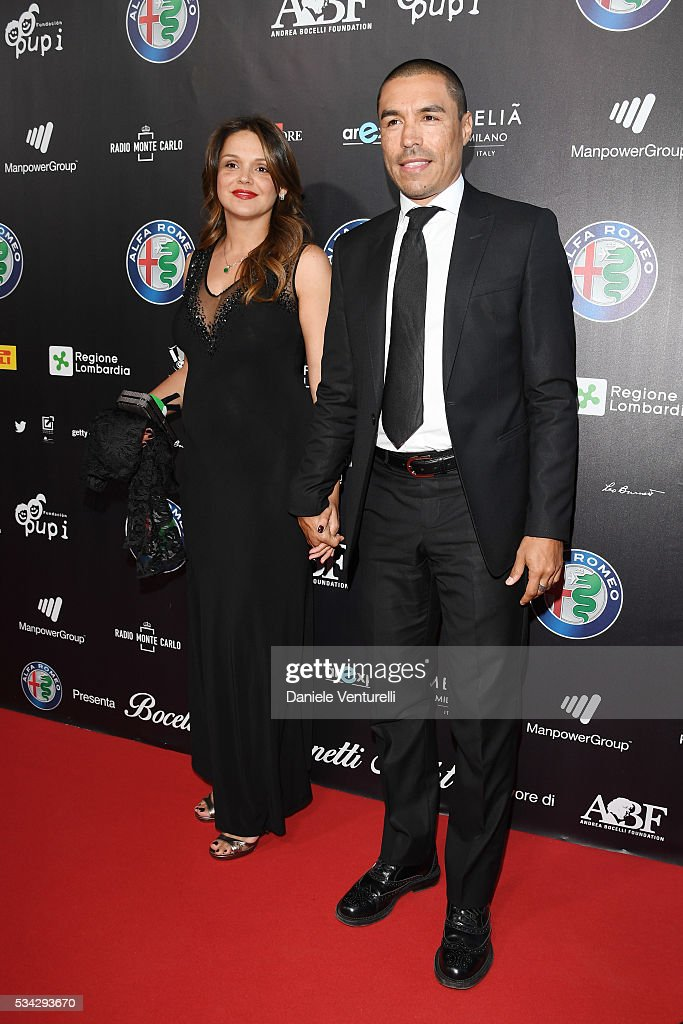 Ivan Cordoba and Maria Isabel Cordoba walk the red carpet of Bocelli and Zanetti Night on May 25, 2016 in Rho, Italy.