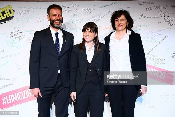 Ivan Cotroneo Debora Serracchiani and Franceca Cima attend 'Un Bacio' Premiere at Auditorium Parco Della Musica on March 23 2016 in Rome Italy