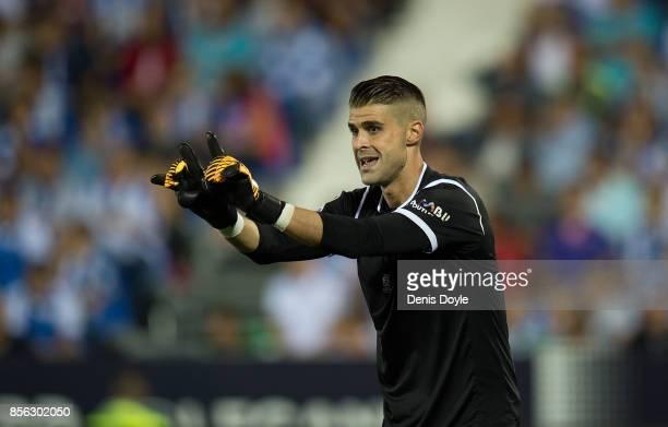 Ivan Cuellar of CD Leganes reacts during the La Liga match between Leganes and Atletico Madrid at Estadio Municipal de Butarque on September 30 2017...