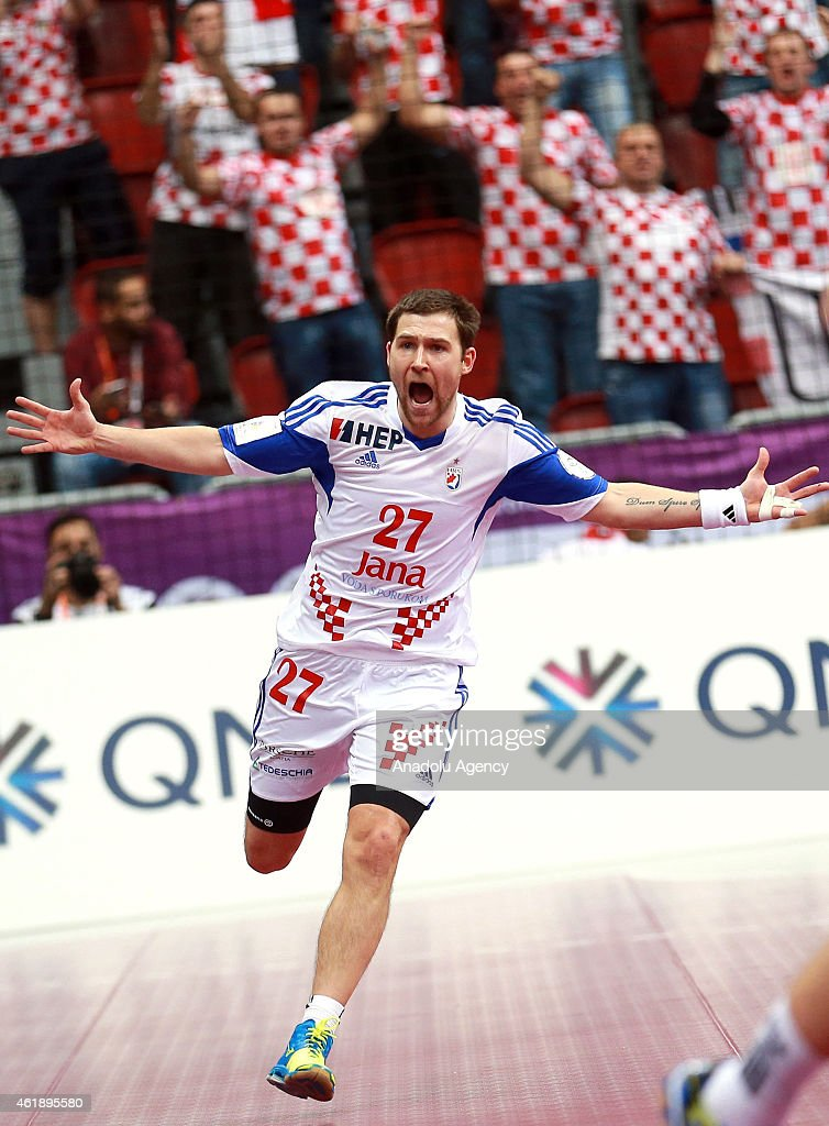 Ivan Cupic of Croatia in action during the 24th Men's Handball World Championship's Group B match between Macedonia and Croatia at the Duhail Handball Sports Hall in Doha, Qatar on January 21, 2015.