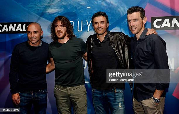 Ivan de la Pena Carles Puyol Luis Enrique Martinez and Juan Carlos Unzue attend a movie premiere of 'Puyol Mas Que Un Capitan' at the Cinesa Diagonal...