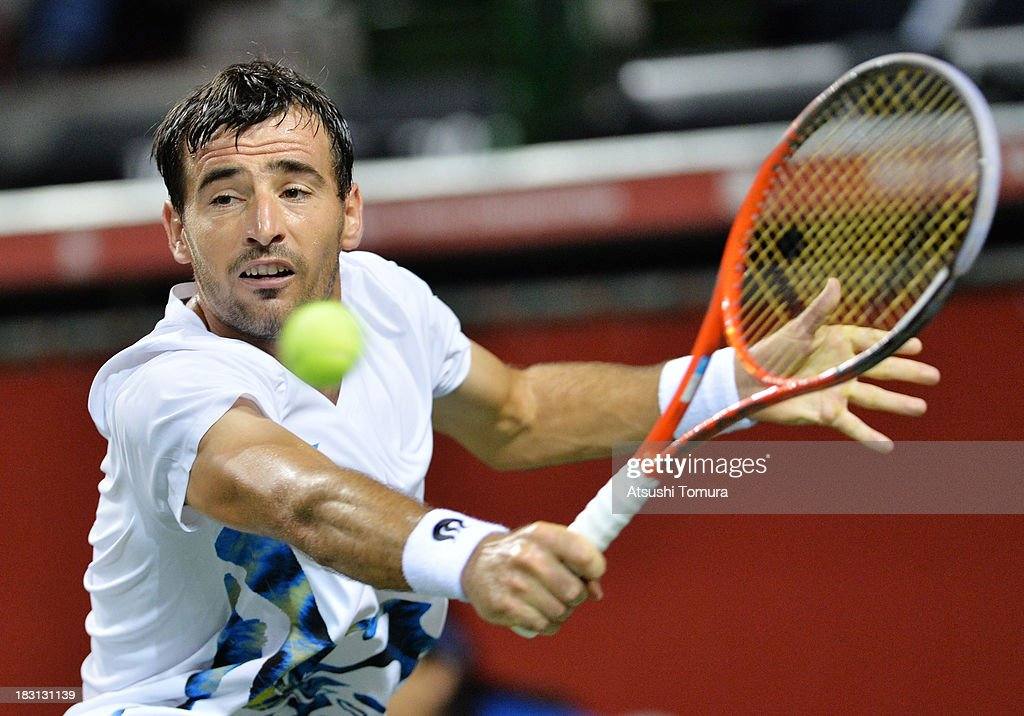Ivan Dodig of Croatia in action during men's singles semi final match against Milos Raonic of Canada during day six of the Rakuten Open at Ariake Colosseum on October 5, 2013 in Tokyo, Japan.
