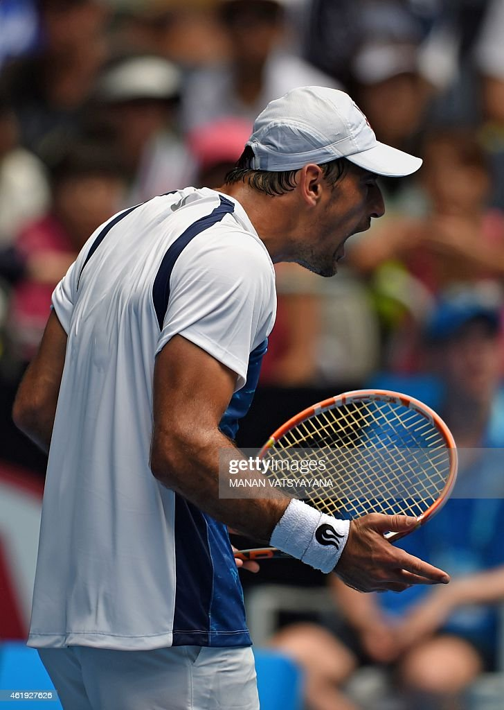 <a gi-track='captionPersonalityLinkClicked' href=/galleries/search?phrase=Ivan+Dodig&family=editorial&specificpeople=4888715 ng-click='$event.stopPropagation()'>Ivan Dodig</a> of Croatia reacts during his loss to Kei Nishikori of Japan in their men's singles match on day four of the 2015 Australian Open tennis tournament in Melbourne on January 22, 2015. AFP PHOTO / MANAN VATSYAYANA USE