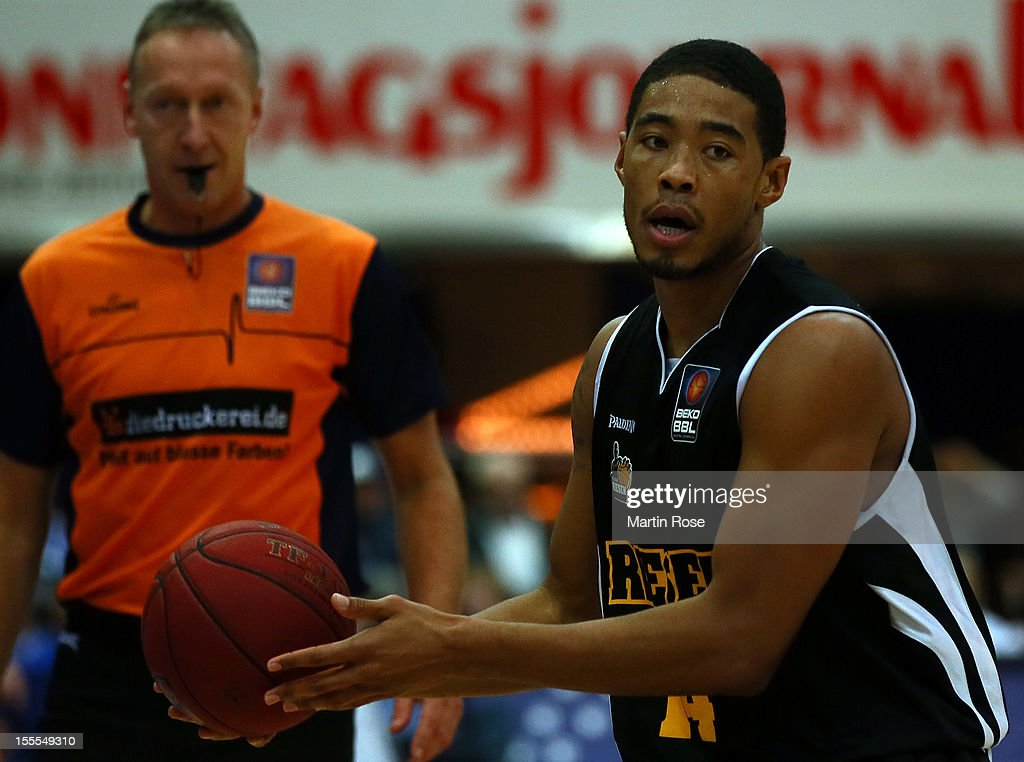 Ivan Elliot of Ludwigsburg runs with the ball during the Beko BBL basketball match between Eisbaeren Bremerhaven and Nackar RIESEN Ludwigsburg at the Stadthalle on November 4, 2012 in Bremerhaven, Germany.