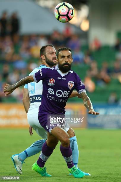 Ivan Franjic of Melbourne and Diego Castro of the Glory contest for the ball during the round 27 ALeague match between the Perth Glory and Melbourne...
