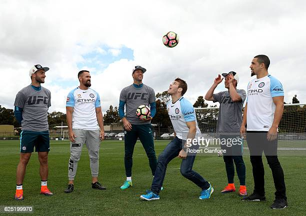 Ivan Franjic of Melbourne City UFC fighter Kyle Noke Thomas Sorensen of Melbourne City UFC fighter Jake Matthews Michael Jakobsen of Melbourne City...