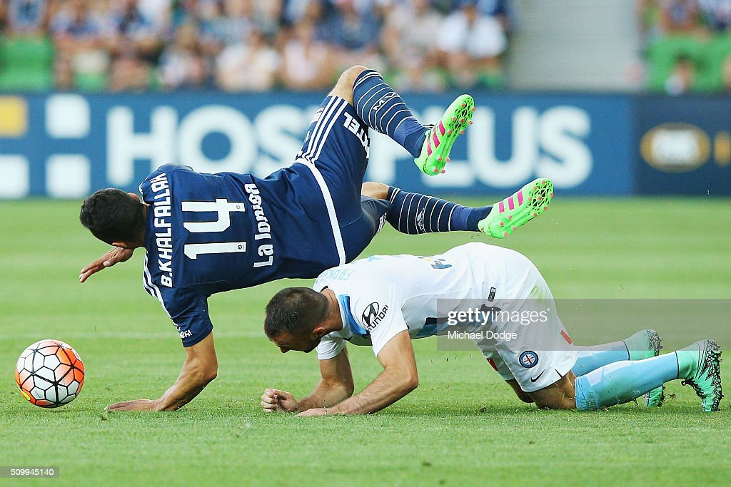 Ivan Franjic of the City fouls Ben Khalfallah of the Victory in this tackle during the round 19 A-League match between Melbourne City FC and Melbourne Victory at AAMI Park on February 13, 2016 in Melbourne, Australia.