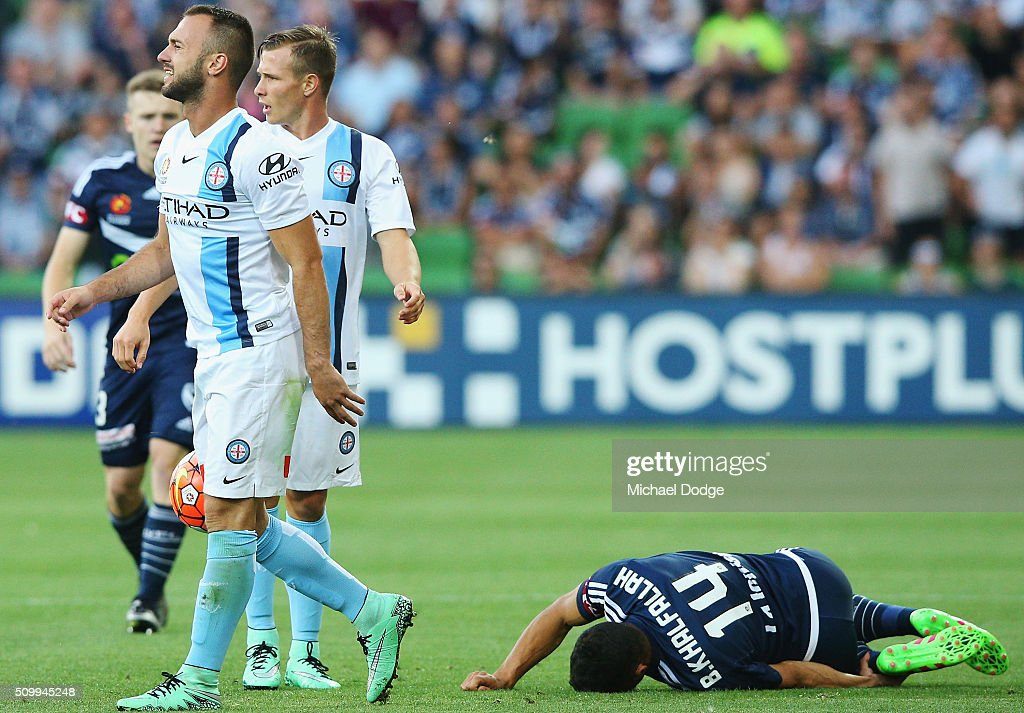 Ivan Franjic of the City walks off after fouling Ben Khalfallah of the Victory in a tackle during the round 19 A-League match between Melbourne City FC and Melbourne Victory at AAMI Park on February 13, 2016 in Melbourne, Australia.
