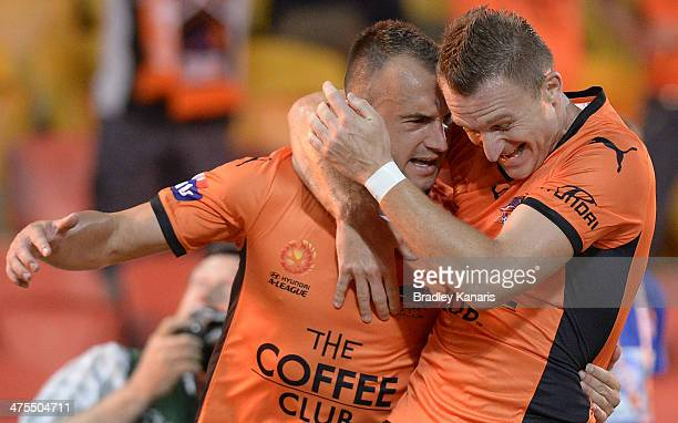 Ivan Franjic of the Roar celebrates with Besart Berisha after scoring a goal during the round 21 ALeague match between Brisbane Roar and Perth Glory...