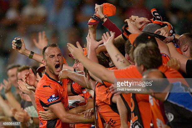 Ivan Franjic of the Roar celebrates with fans after scoring during the round 12 ALeague match between Sydney FC and Brisbane Roar at Allianz Stadium...