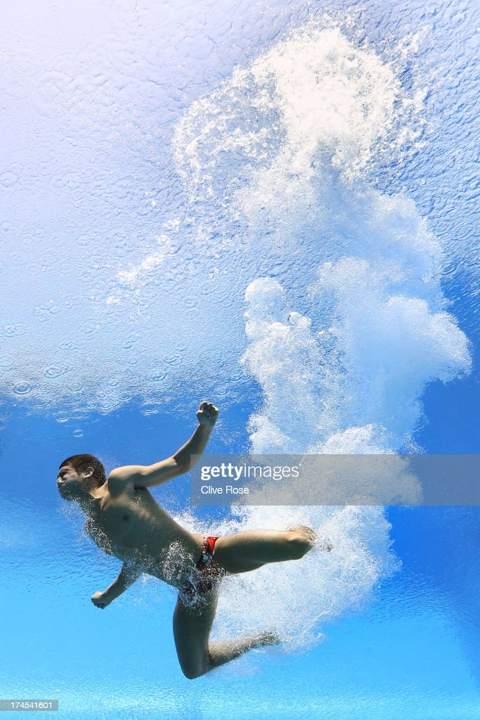 Ivan Garcia of Mexico competes in the Men's 10m Platform Diving Semifinal round on day eight of the 15th FINA World Championships at Piscina Municipal de Montjuic on July 27, 2013 in Barcelona, Spain.