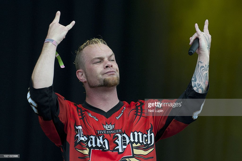Ivan 'Ghost' Moody of Five Finger Death Punch performs on stage on the second day of the Download Festival at Donington Park on June 12, 2010 in Castle Donington, England.