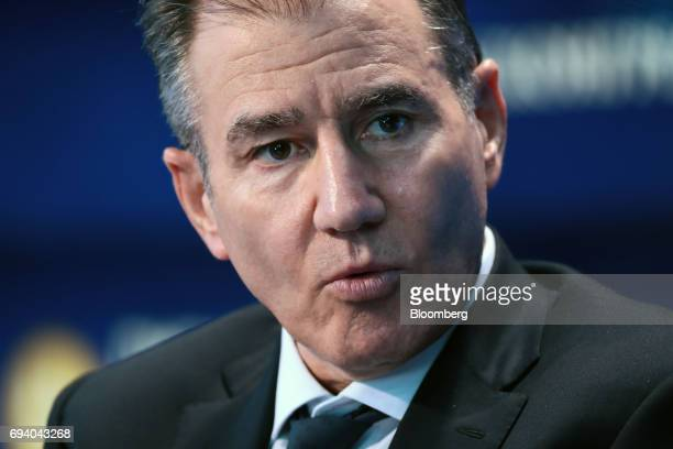 Ivan Glasenberg billionaire and chief executive officer of Glencore Plc speaks on the Bloomberg Television debate panel during the St Petersburg...