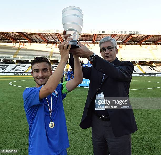 Ivan Greco of AC Pavia and Vito Tisci President of Lega Giovanile FIGC celebrate the victory after the Lega Pro U17 Final between AC Pisa and AC...