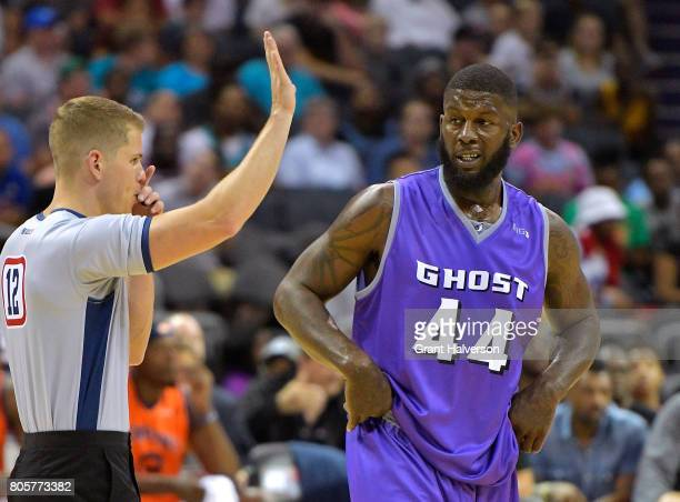 Ivan Johnson of Ghost Ballers questions a call by the official in their game against 3's Company during week two of the BIG3 three on three...