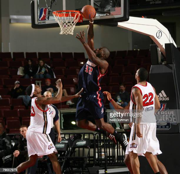 Ivan Johnson of the Anaheim Arsenal dunks against Michael Cuffee of the Bakersfield Jam during the 2008 DLeague Showcase on January 15 2008 at the...