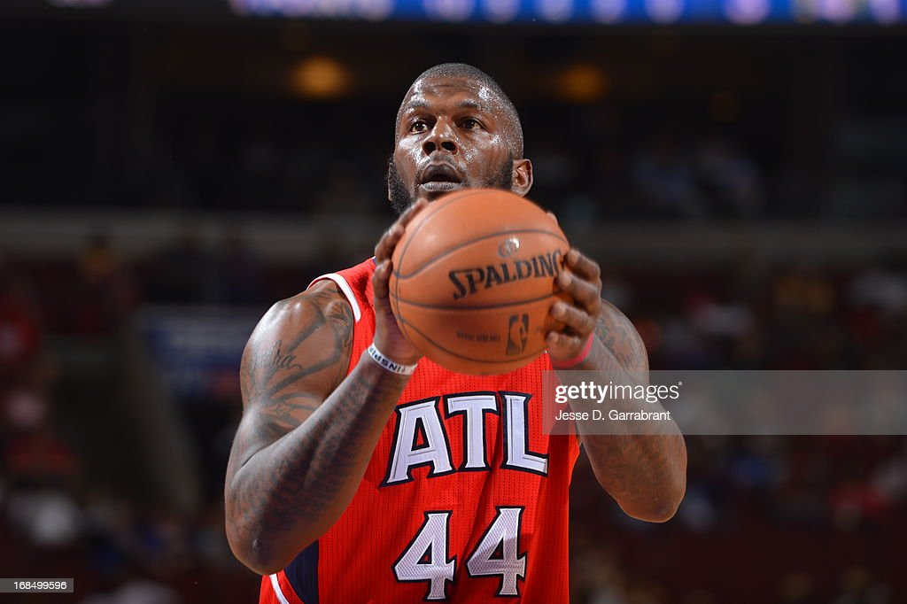 Ivan Johnson #44 of the Atlanta Hawks attempts a foul shot against the Philadelphia 76ers at the Wells Fargo Center on April 10, 2013 in Philadelphia, Pennsylvania.