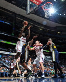 Ivan Johnson of the Atlanta Hawks attempts a layup against the Utah Jazz on January 11 2013 at Philips Arena in Atlanta Georgia NOTE TO USER User...