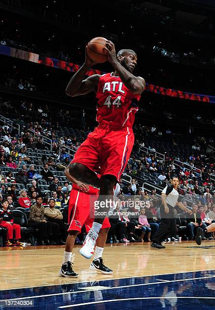 Ivan Johnson of the Atlanta Hawks brings the ball up court during the game between the Toronto Raptors and the Atlanta Hawks on January 16 2012 at...
