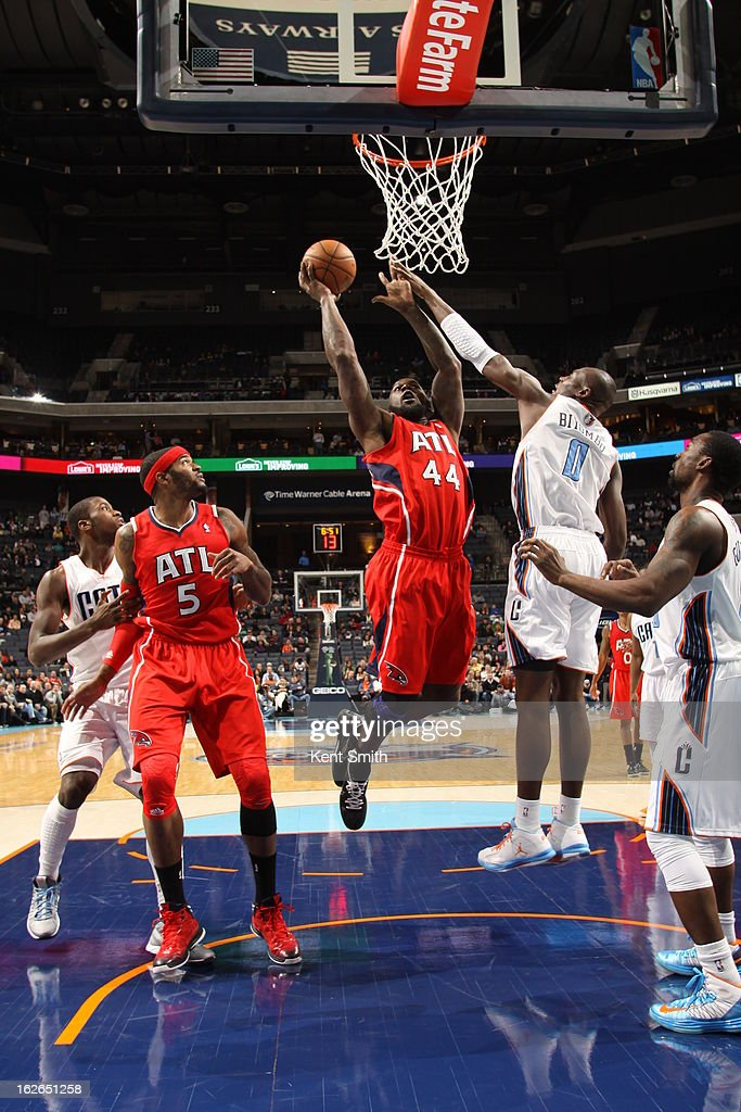 Ivan Johnson #44 of the Atlanta Hawks drives to the basket against the Charlotte Bobcats at the Time Warner Cable Arena on January 23, 2013 in Charlotte, North Carolina.