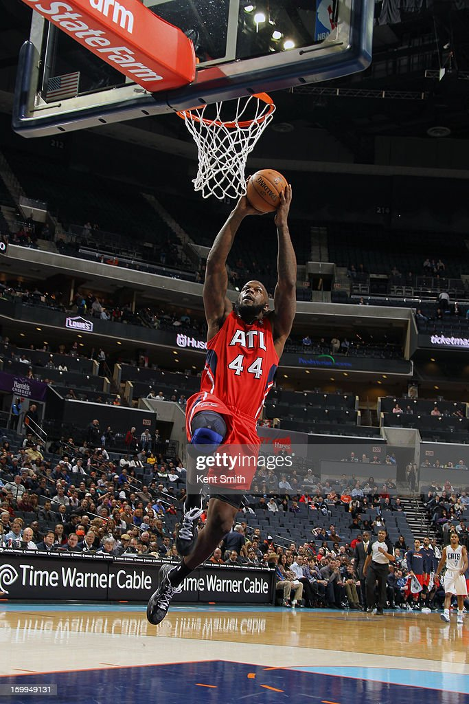Ivan Johnson #44 of the Atlanta Hawks dunks against the Charlotte Bobcats at the Time Warner Cable Arena on January 23, 2013 in Charlotte, North Carolina.