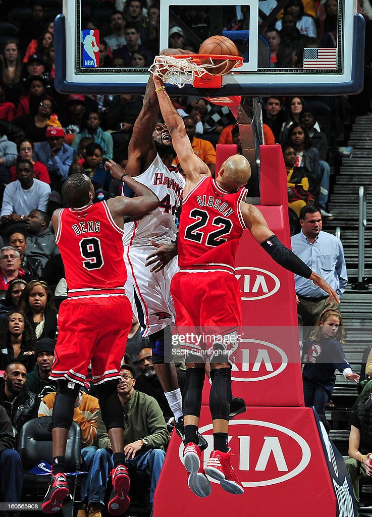 Ivan Johnson #44 of the Atlanta Hawks dunks the ball against Taj Gibson #22 of the Chicago Bulls on February 2, 2013 at Philips Arena in Atlanta, Georgia.