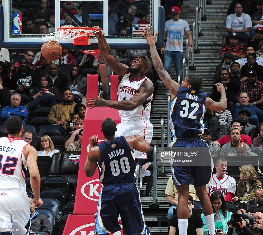 Ivan Johnson #44 of the Atlanta Hawks dunks the ball during the game between the Atlanta Hawks and the Memphis Grizzlies on February 6, 2013 at Philips Arena in Atlanta, Georgia.