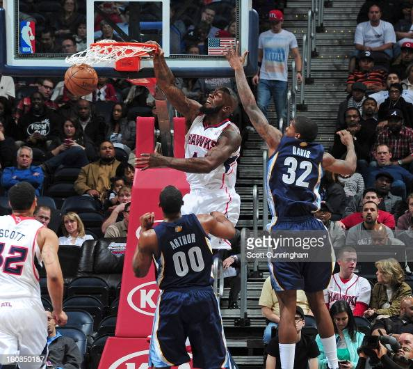 Ivan Johnson of the Atlanta Hawks dunks the ball during the game between the Atlanta Hawks and the Memphis Grizzlies on February 6 2013 at Philips...
