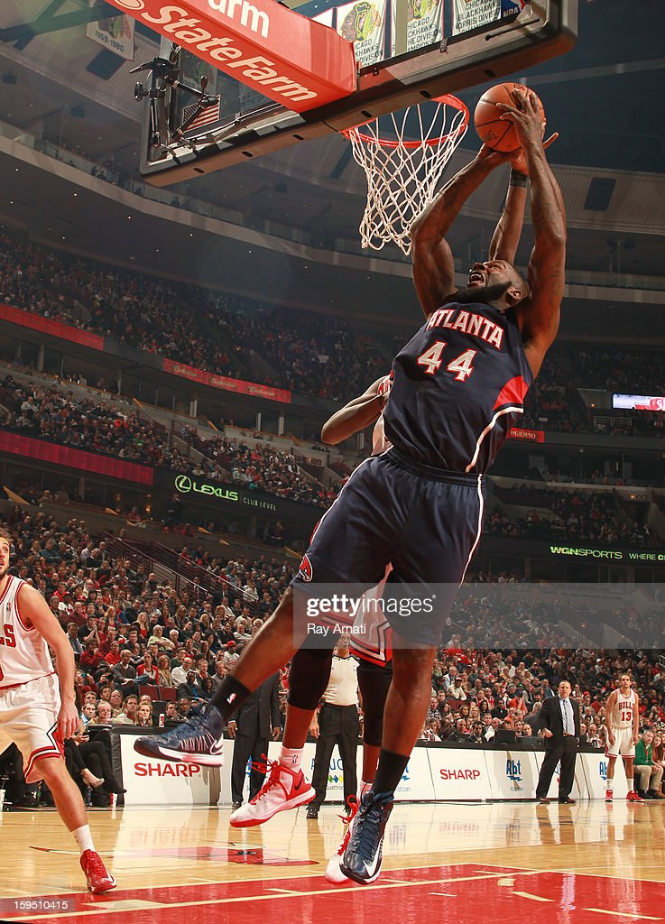 Ivan Johnson #44 of the Atlanta Hawks goes to the basket against the Chicago Bulls on January 14, 2013 at the United Center in Chicago, Illinois.