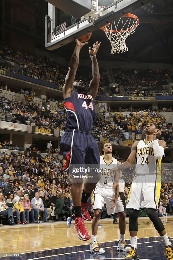 Ivan Johnson #44 of the Atlanta Hawks goes to the basket during Game One of the Eastern Conference Quarterfinals between the Indiana Pacers and the Atlanta Hawks on April 21, 2013 at Bankers Life Fieldhouse in Indianapolis, Indiana.