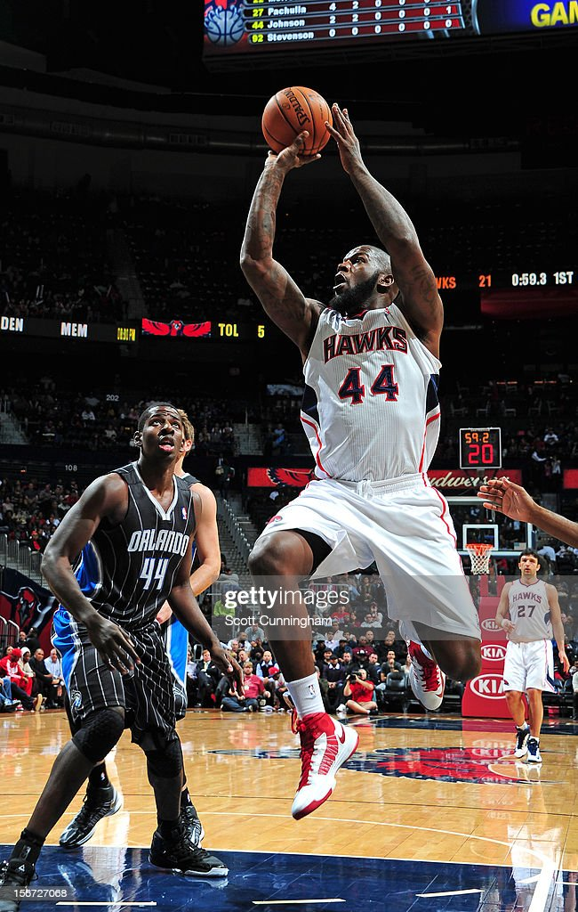 Ivan Johnson #44 of the Atlanta Hawks goes to the basket during the game between the Atlanta Hawks and the Orlando Magic at Philips Arena on November 19, 2012 in Atlanta, Georgia.