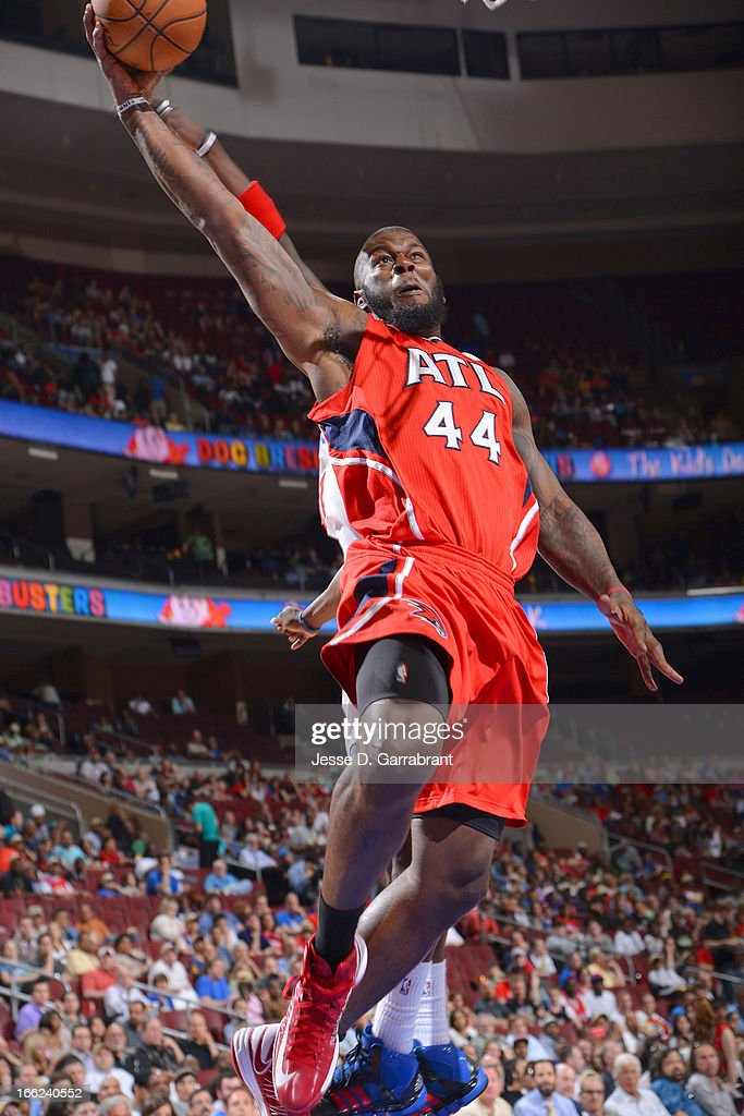 Ivan Johnson #44 of the Atlanta Hawks goes up for a dunk against the Philadelphia 76ers at the Wells Fargo Center on April 10, 2013 in Philadelphia, Pennsylvania.