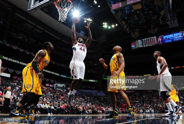 Ivan Johnson of the Atlanta Hawks goes up for the layup against the Indiana Pacers during Game Six of the Eastern Conference Quarterfinals in the...